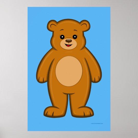 Happy Cartoon Bear Poster