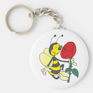 Happy Cartoon Bee Holding and Smelling a Red Rose Keychain