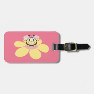 Happy Cartoon Bee Pink Personalized Kids Luggage Tag