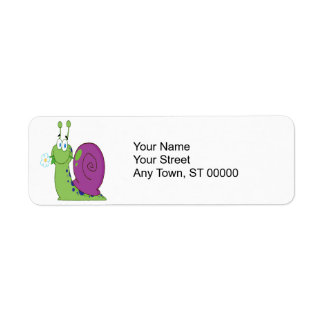 happy cartoon colorful snail with flower return address label
