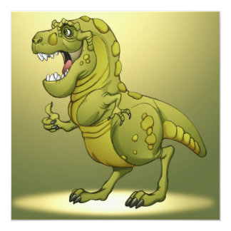 "Happy Cartoon Dinosaur Giving the Thumbs Up! 5.25"" Square Invitation Card"