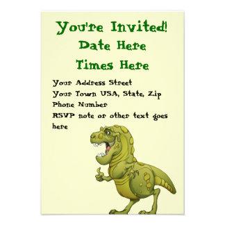 Happy Cartoon Dinosaur Giving the Thumbs Up! Custom Invites