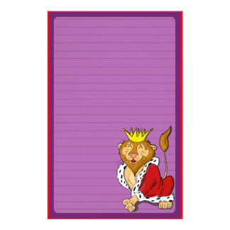 Happy Cartoon King Lion Personalized Stationery