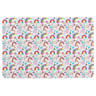 Happy Cartoon Rainbows and Shapes Seamless Pattern Floor Mat