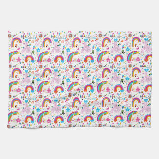 Happy Cartoon Rainbows and Shapes Seamless Pattern Kitchen Towel