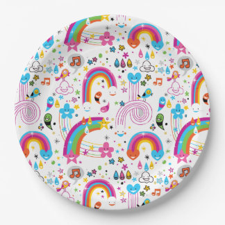Happy Cartoon Rainbows and Shapes Seamless Pattern Paper Plate