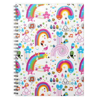 Happy Cartoon Rainbows and Shapes Seamless Pattern Spiral Notebook