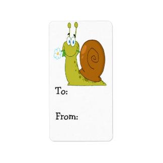 happy cartoon snail with flower