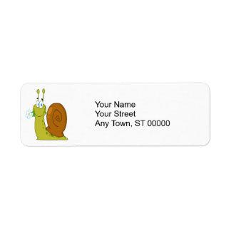 happy cartoon snail with flower return address label