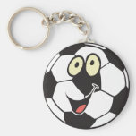 happy cartoon soccer ball basic round button keychain