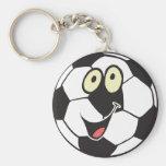 happy cartoon soccer ball key chains