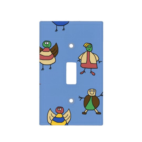 Happy Cartoon Stick People on any Colour Light Switch Cover