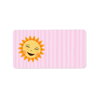 Happy cartoon sun on pink background blank labels