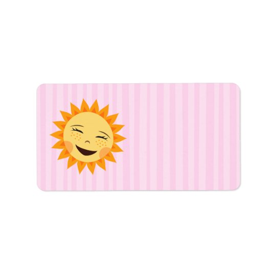 Happy cartoon sun on pink background blank labels