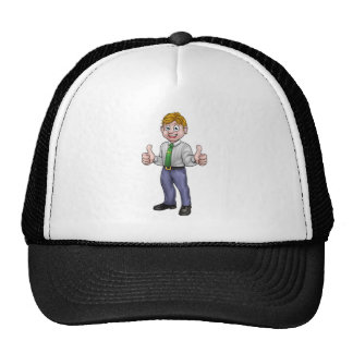 Happy Cartoon Thumbs Up Business Man Trucker Hat