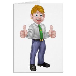 Happy Cartoon Thumbs Up Man Card