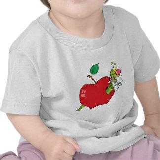 Happy Cartoon Worm In Apple Tshirts