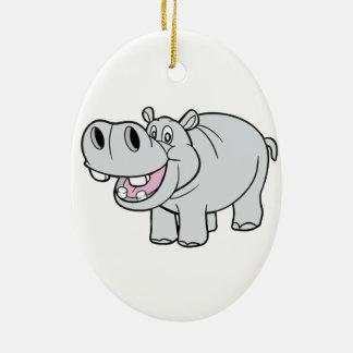 Happy CartoonHippopotamus Ceramic Oval Ornament
