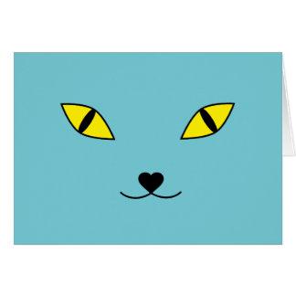 Happy cat face pillow card