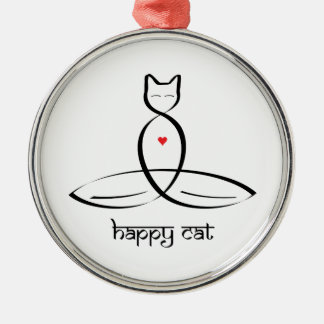 Happy Cat - Sanskrit style text. Silver-Colored Round Ornament