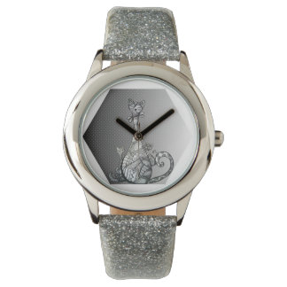 Happy Cat Silver Clock Wrist Watches