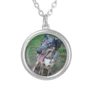 Happy Catahoula Leopard Dog Silver Plated Necklace