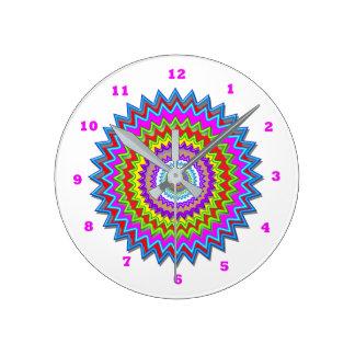 Happy Chakra Art Healing Symbols Round Circles Wall Clocks