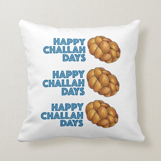 Happy Challah Days Blue Chanukah Hanukkah Pillow