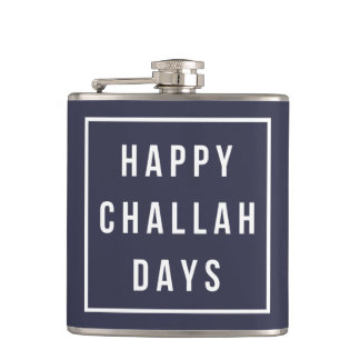Happy Challah Days | Blue & White Funny Hanukkah Flasks