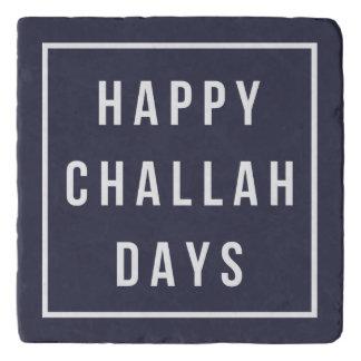 Happy Challah Days | Modern Hanukkah Navy & White Trivet