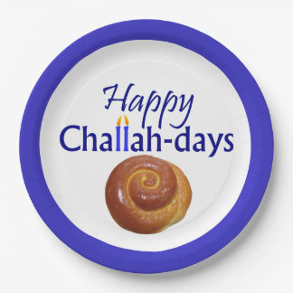 Happy Challah-Days Paper Plate 9 Inch Paper Plate