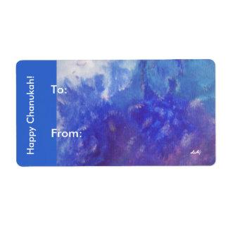 Happy Chanukah Aqua Purple Gift Stickers
