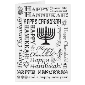 Happy Chanukah Festive Fonts BW Card