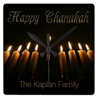 Happy Chanukah Hanukkah Lamp Menorah Light Candles Square Wall Clock