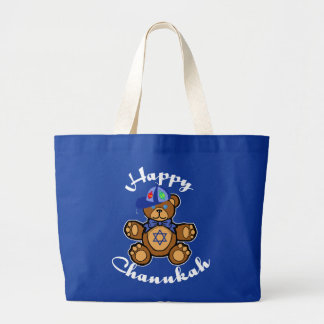 Happy Chanukah Teddy Bear Large Tote Bag