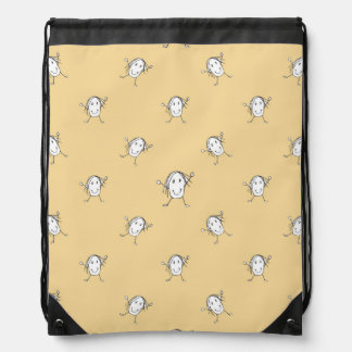 Happy Character Kids Motif Pattern Drawstring Bag