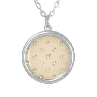 Happy Character Kids Motif Pattern Silver Plated Necklace