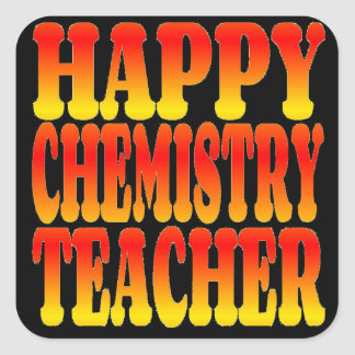 Happy Chemistry Teacher in Cheerful Colors Square Sticker