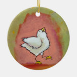 Happy chicken painting fun cute modern folk art round ceramic ornament