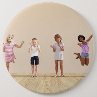 Happy Children in a Day Care or Daycare Center 6 Inch Round Button