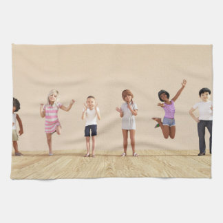 Happy Children in a Day Care or Daycare Center Kitchen Towel
