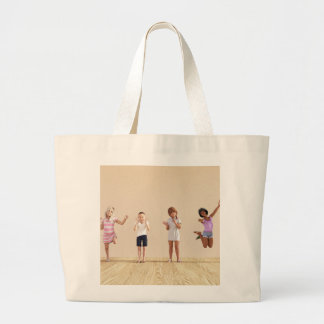 Happy Children in a Day Care or Daycare Center Large Tote Bag