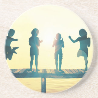 Happy Children Playing in the Park Illustration Coaster