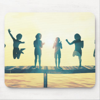 Happy Children Playing in the Park Illustration Mouse Pad