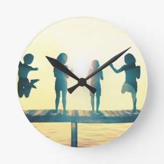 Happy Children Playing in the Park Illustration Round Clock