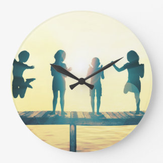 Happy Children Playing in the Park Illustration Wallclocks