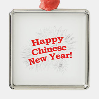 Happy Chinese New Year Design Silver-Colored Square Ornament
