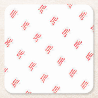Happy Chinese New Year Design Square Paper Coaster