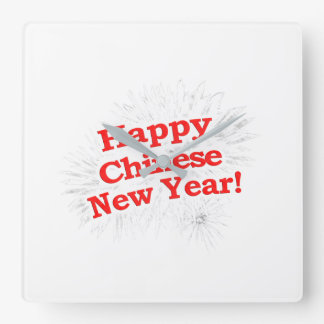 Happy Chinese New Year Design Square Wall Clock