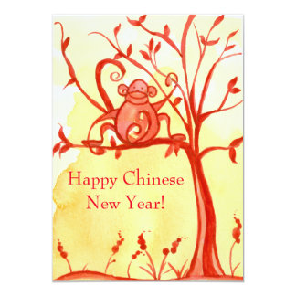 """Happy Chinese New Year Of The Monkey Party 5"""" X 7"""" Invitation Card"""